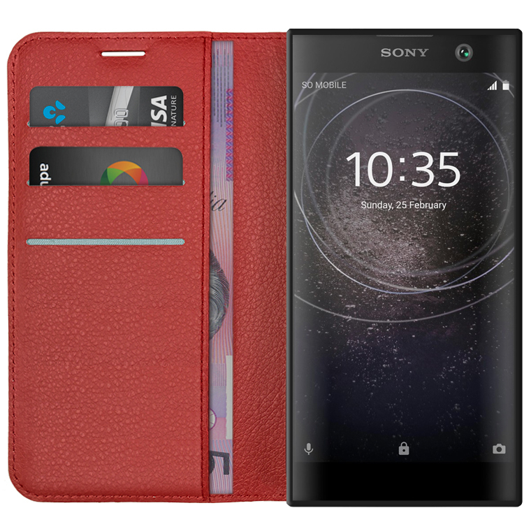 wholesale dealer 0e391 db297 Leather Wallet Case & Card Holder for Sony Xperia XA2 (Red)
